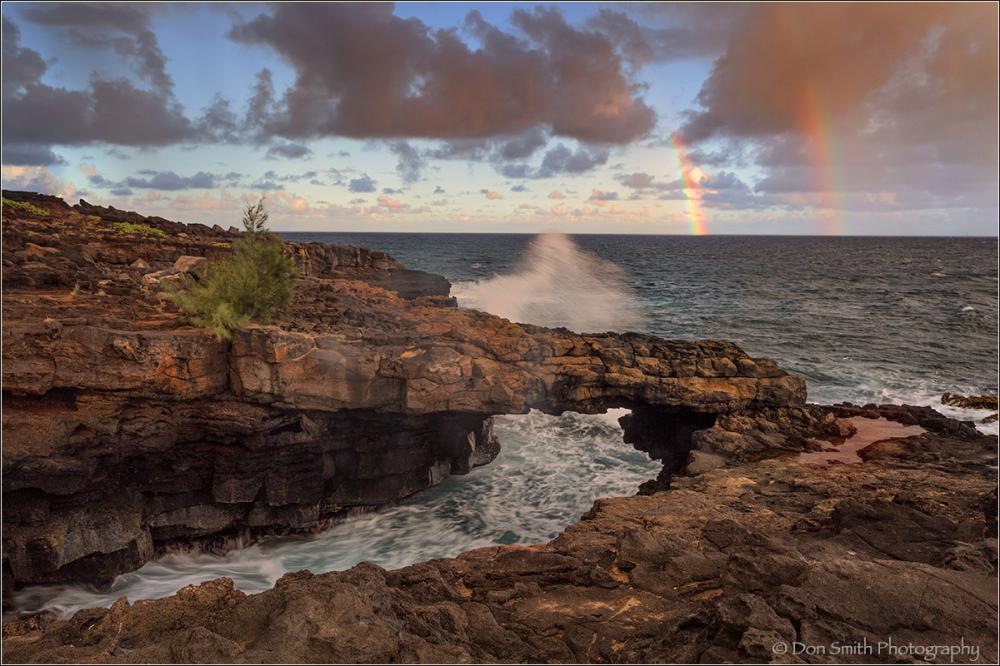Double Rainbows, Makahuena Arch, Kauai, Hawaii
