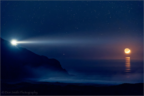 Pt Sur Lightstation and Crescent Moon, Big Sur