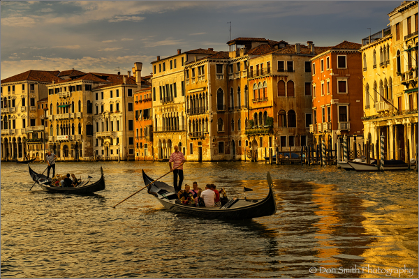 Evening Gondola ride down Grand Canal, Venice