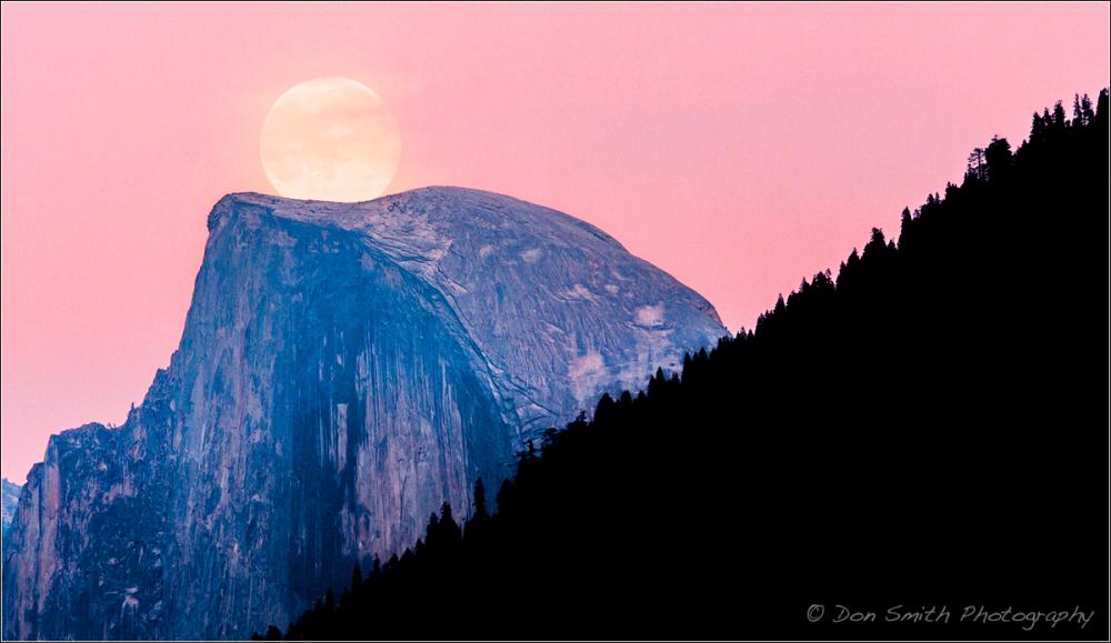 Dawn Moonrise Over Half Dome, Yosemite NP