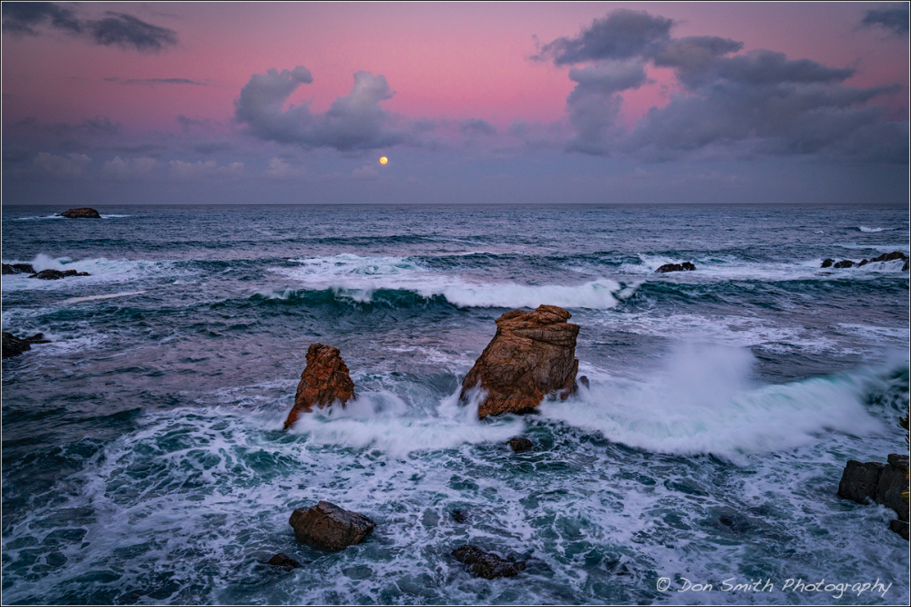 Moonset at Dawn, Big Sur Coast, California