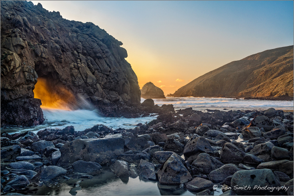 Warm Light Through Keyhole Arch, Big Sur