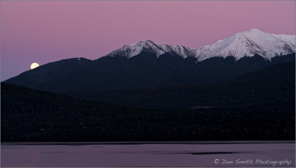 Moonset Over Lake Te Anau, New Zealand