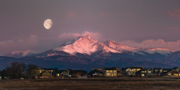 Moon over Longs Peak