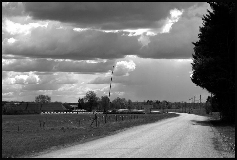 B&amp;W image of the country road in J&auml;rvamaa