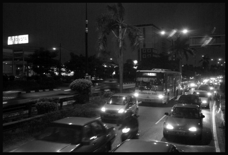 Night traffic in Johor Bahru