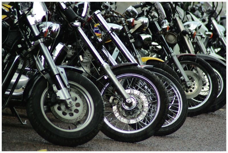 motorcycles in the row