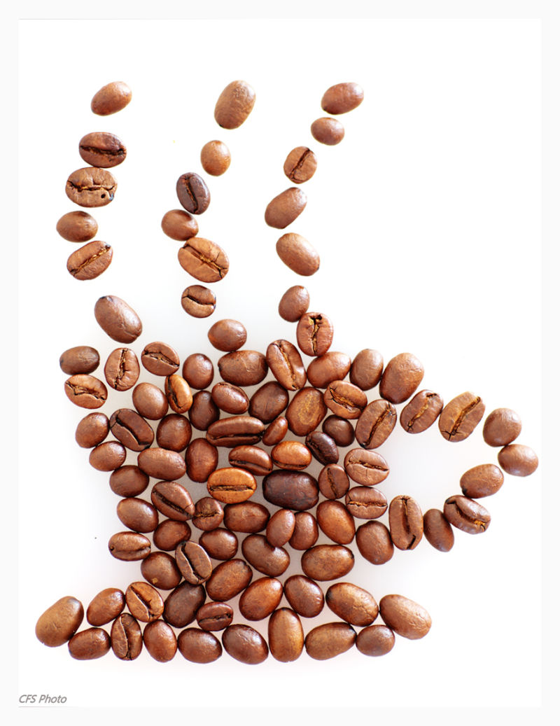 coffee beans creating cup of coffee