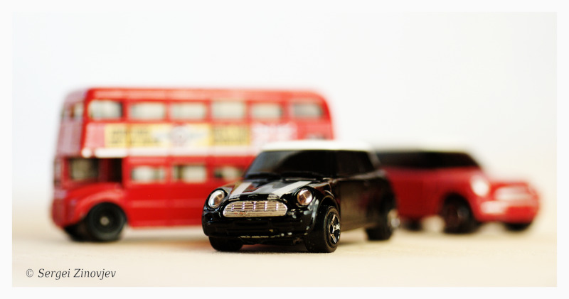 macro image of toy cars