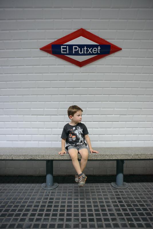 Kid in train station