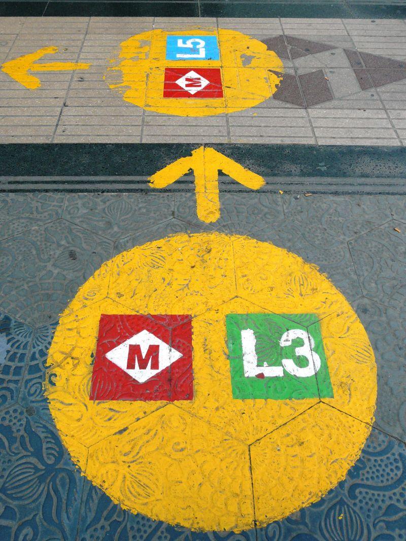 Signalisation suite à travaux du métro à Barcelone