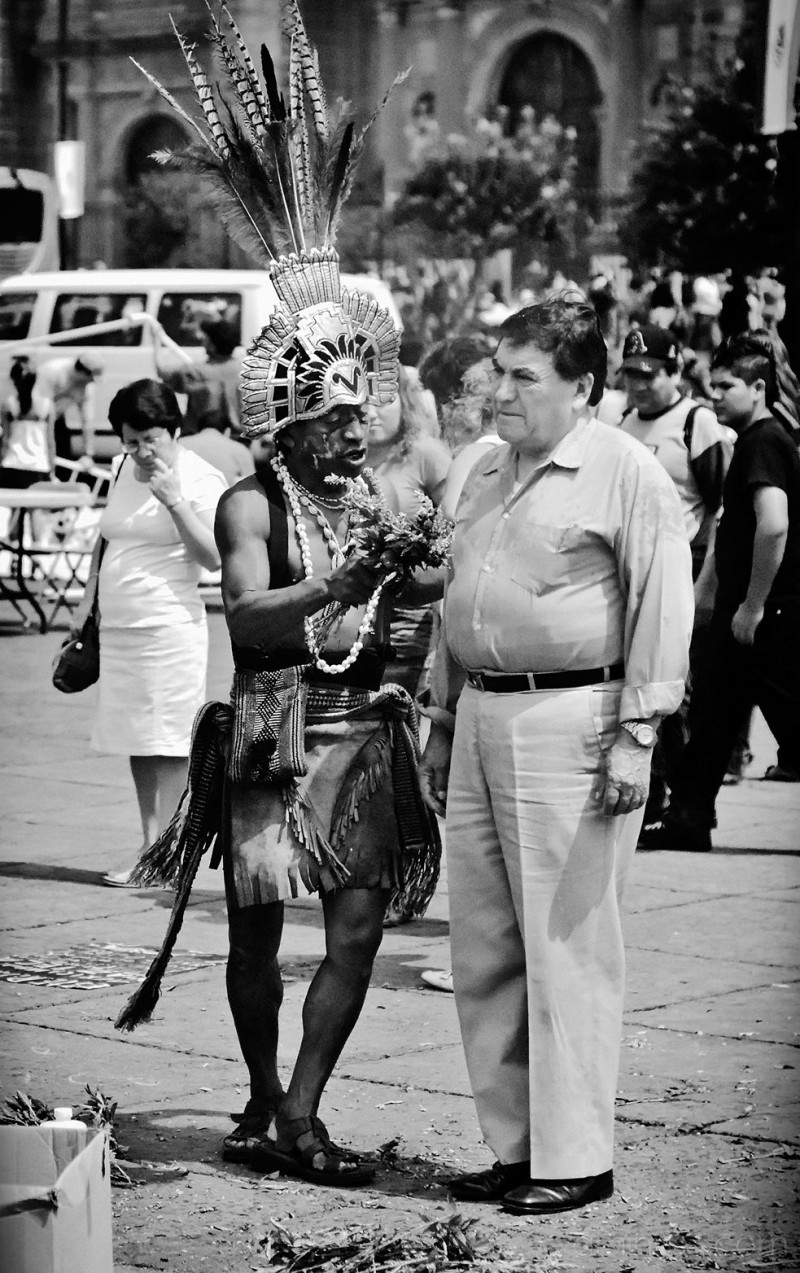 "Shaman calls off the ""sal"" at the Zocalo, D.F."