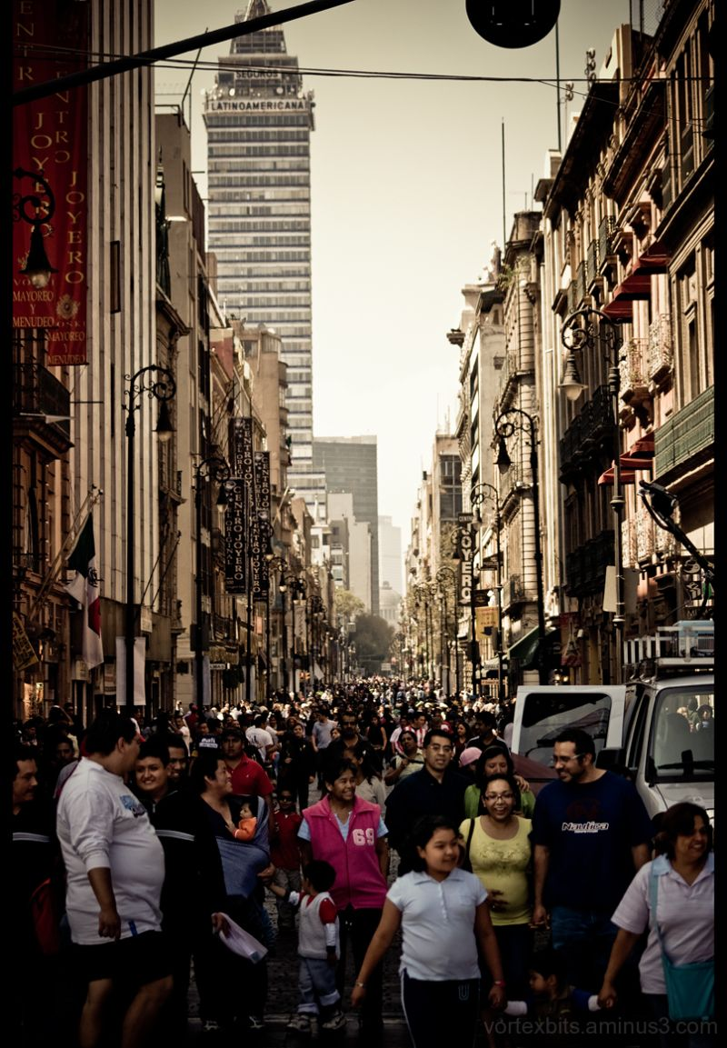 Mutltitudes on Madero, dowtown - Mexico City.