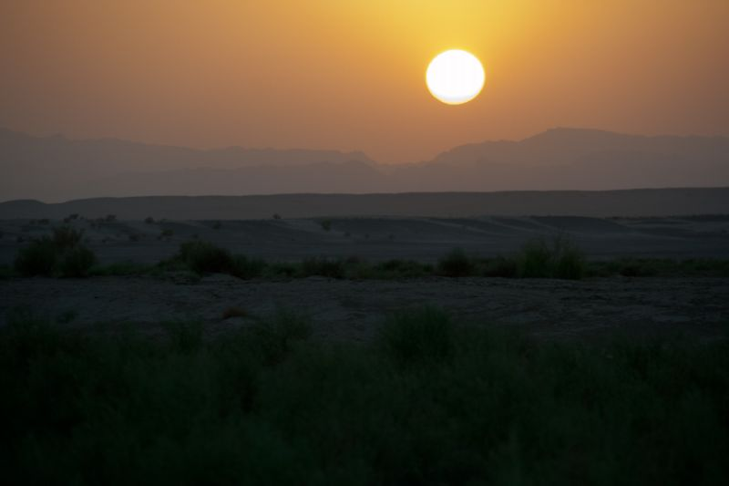 Sunset in the desert of Maranjab