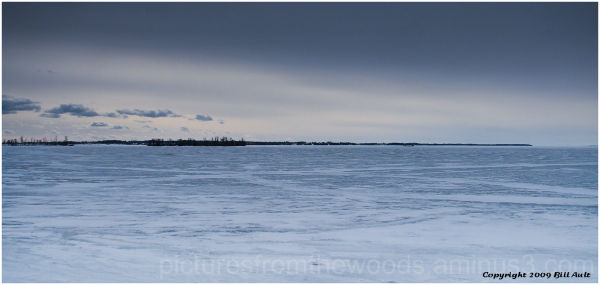 Bleak frozen winter landscape of Lake Ontario.