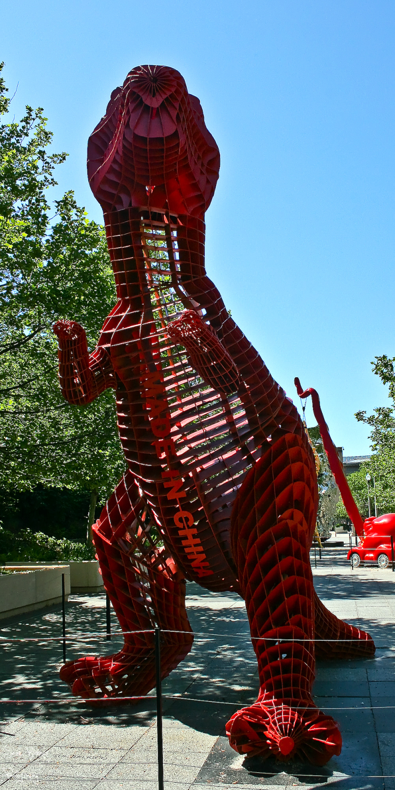 Red T-Rex sculpture in chicago