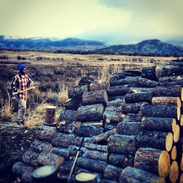 cliff chops wood