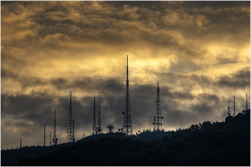 Antennas on Mount Serra, early morning.