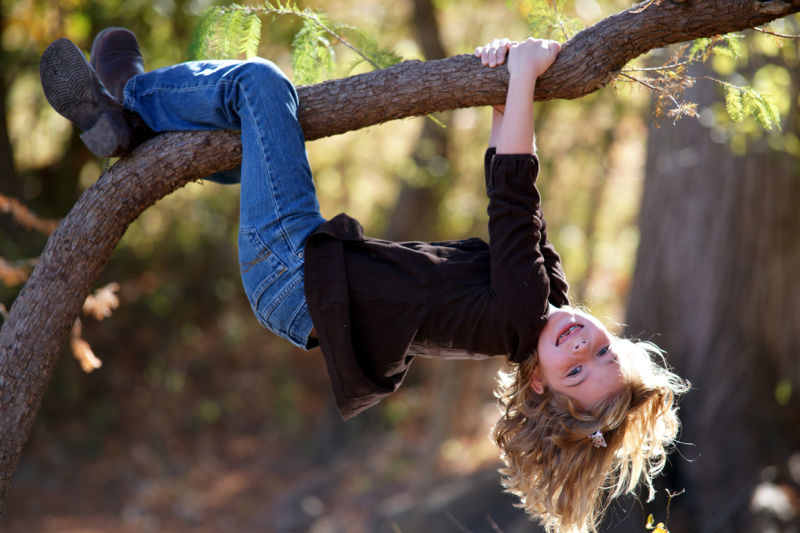 Madellyn hanging in tree - reversed
