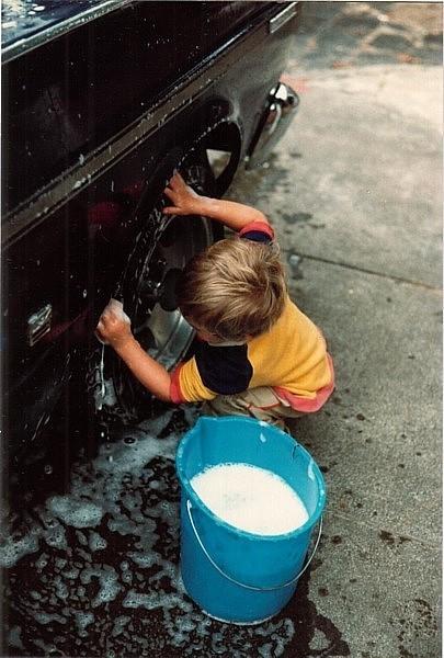 adam washing car - 1984
