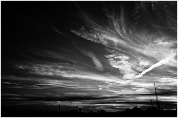 sunset from my roof in black and white