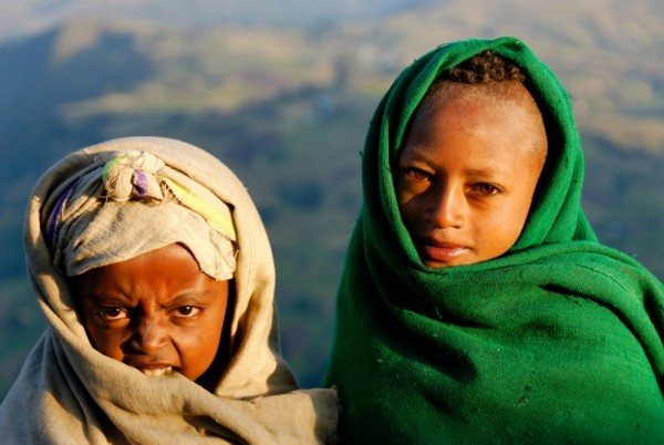 Young Amhara shepherds, Ankober, Ethiopia