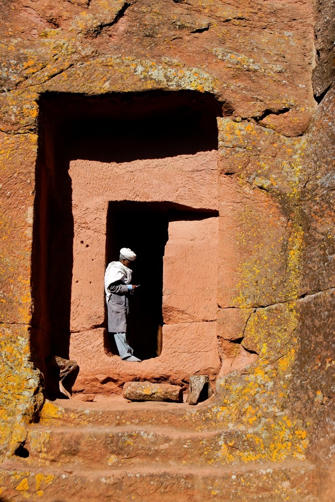 Entrance gate of a church in Lalibela, Ethiopia