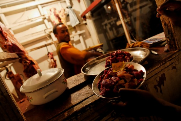 Tibs (meat) restaurant in Mizab Teferi, Ethiopia