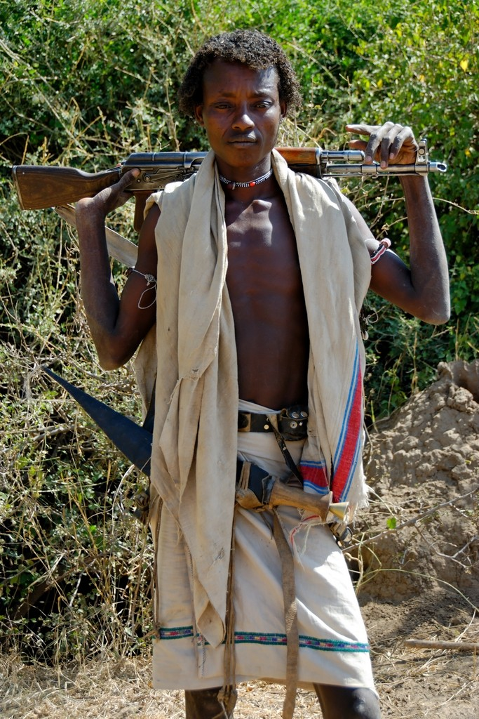Afar man posing in Awash National Park, Ethiopia