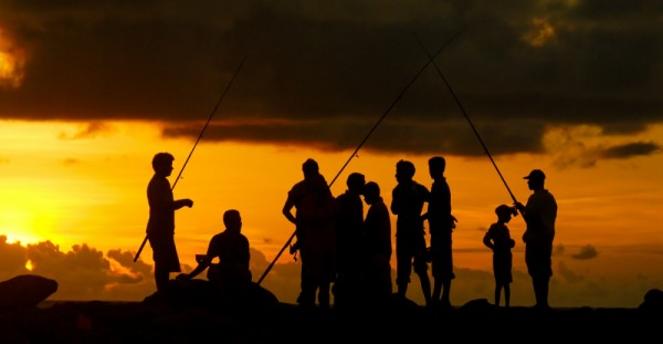 Fishermen chating on a dyke, Colombo, Sri Lanka