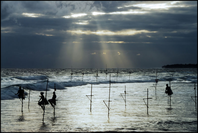 Still fishermen on Koggala shore, Sri Lanka