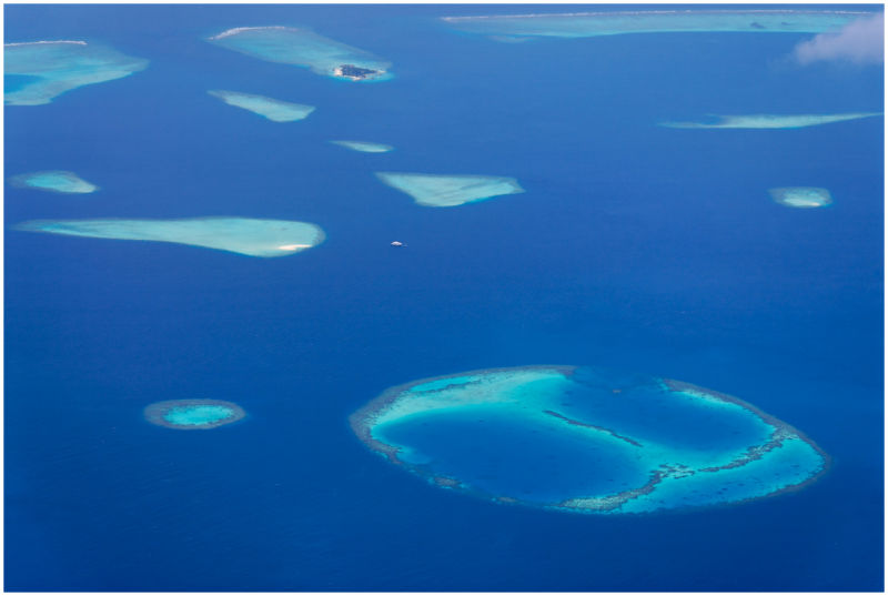 Aerial-view of an atoll, Maldives