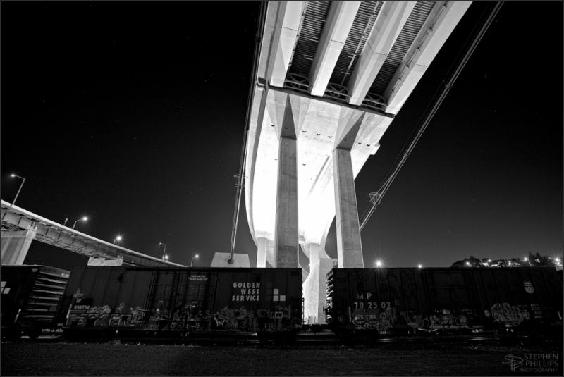 massive new bridge at Crockett towers above
