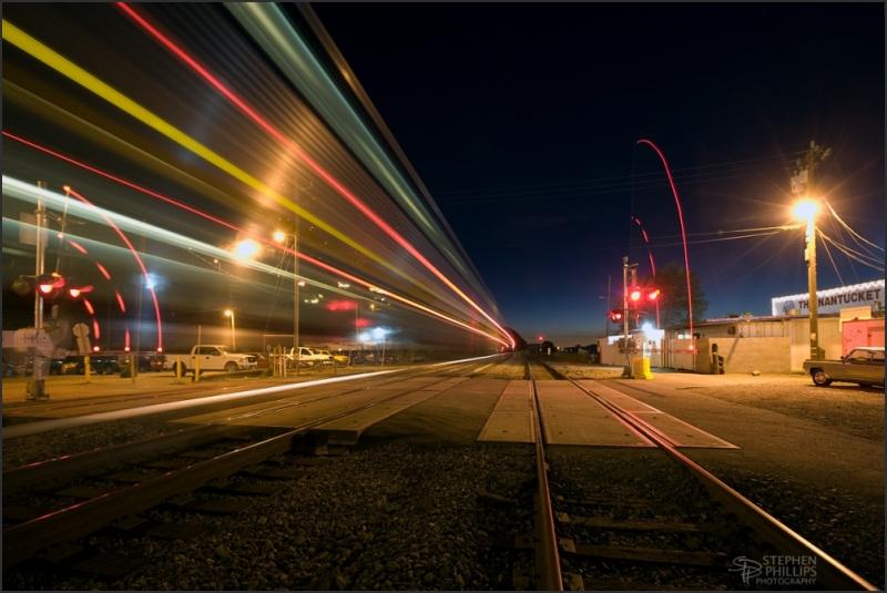 Amtrak passenger train through Crockett, Californi