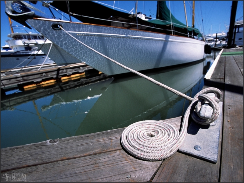 Sailboat secured in Sausalito, California