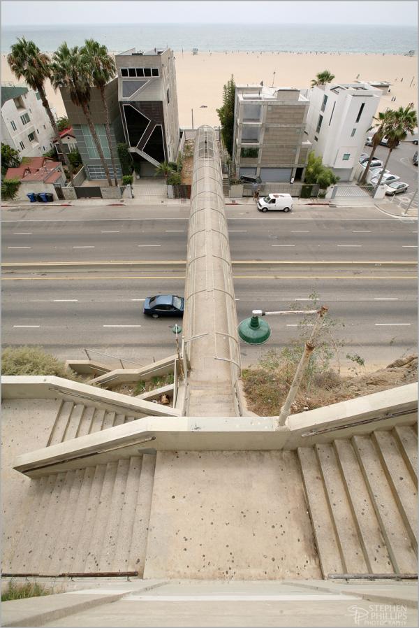 Santa Monica Beach access bridge