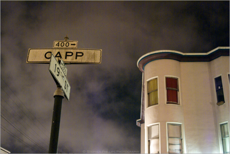 19th Street and Capp Street at midnight