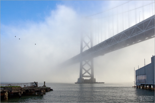 Sunrise through dense fog at The Bay Bridge i