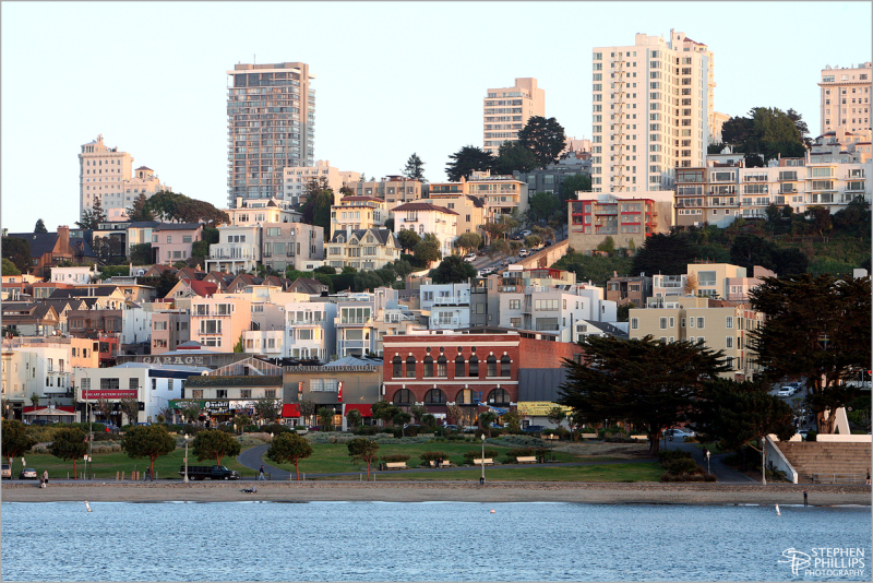 Russian Hill from Aquatic Park in San Francisco