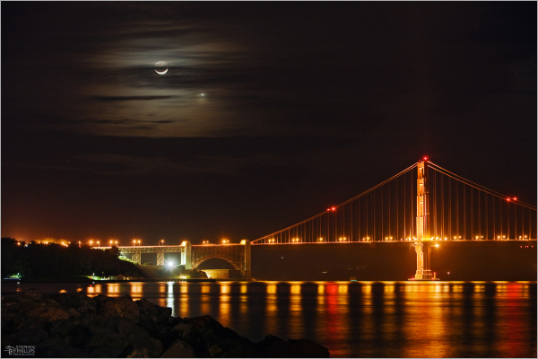 Moon and venus at the Golden Gate