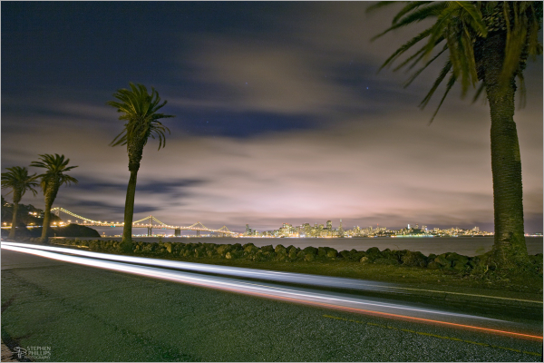 Night view from Treasure Island of San Francisco
