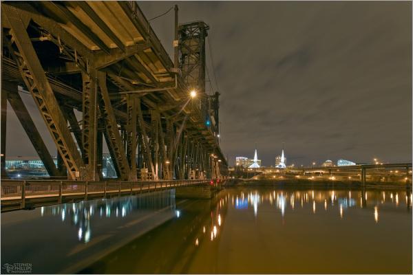 Steel Bridge at Night Portland Oregon