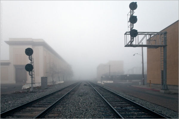 Tracks into the fog - Oakland, California
