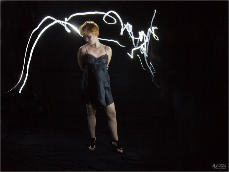 light painting with model NiCole and black lace