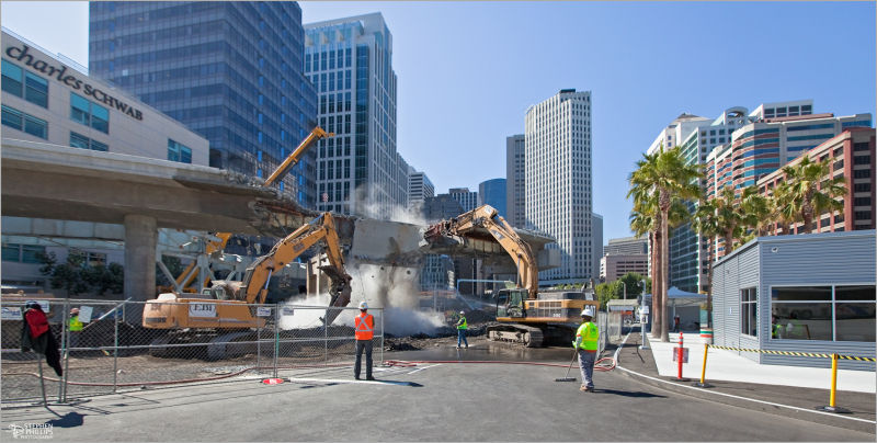Demolition of bus ramp in San Francisco