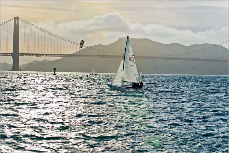 sails and boards across The Golden Gate