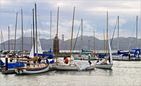sailboats securing at day's end in San Francisco