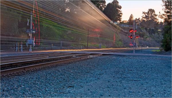 Amtrak Train rolling through Pinole, California