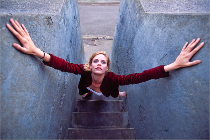 Molly Klaproth ascending a stairway