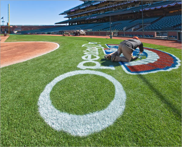 painting the grass San Francisco Giants